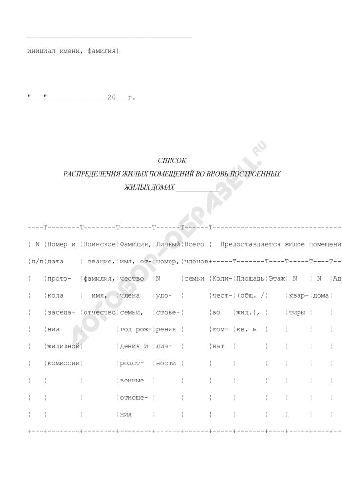 Список распределения жилых помещений во вновь построенных жилых домах между военнослужащими. Страница 2