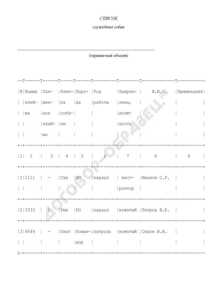 Список служебных собак (приложение к договору на оказание охранных услуг (с условием предоставления служебных собак)). Страница 1