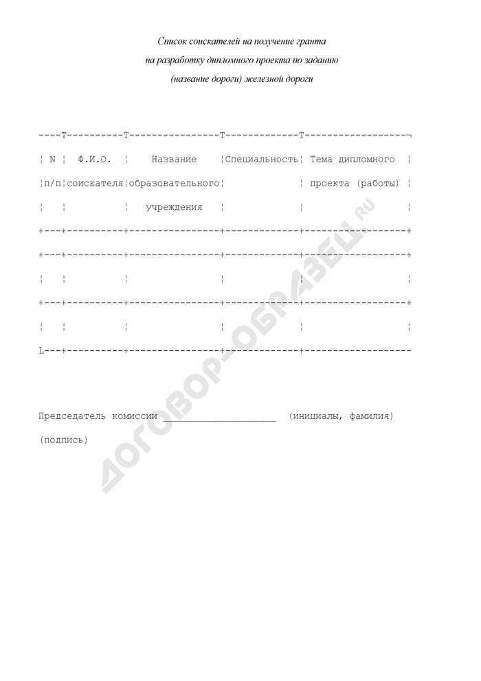 Список соискателей на получение гранта на разработку дипломного проекта по заданию железной дороги. Страница 1