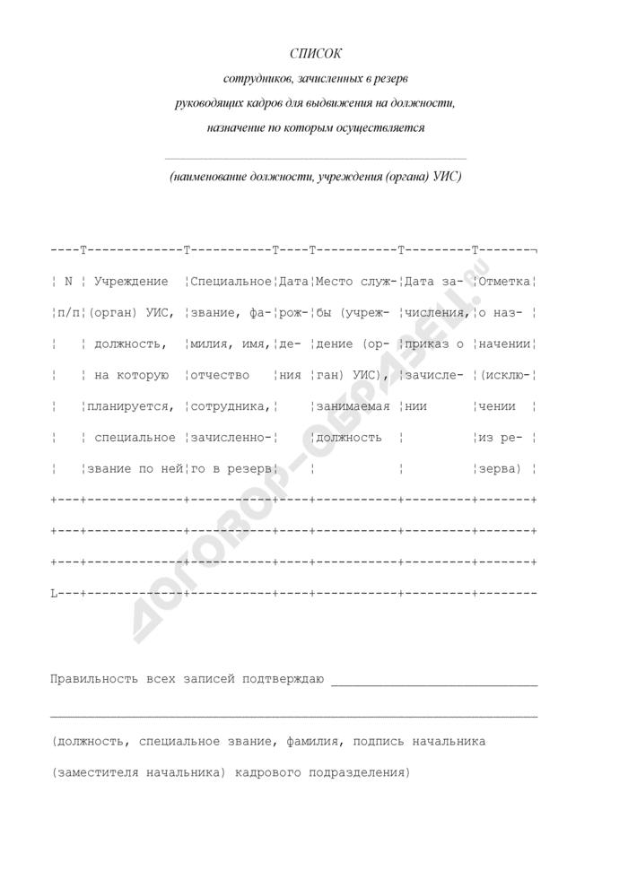 Список сотрудников, зачисленных в резерв руководящих кадров для выдвижения на должности. Страница 1