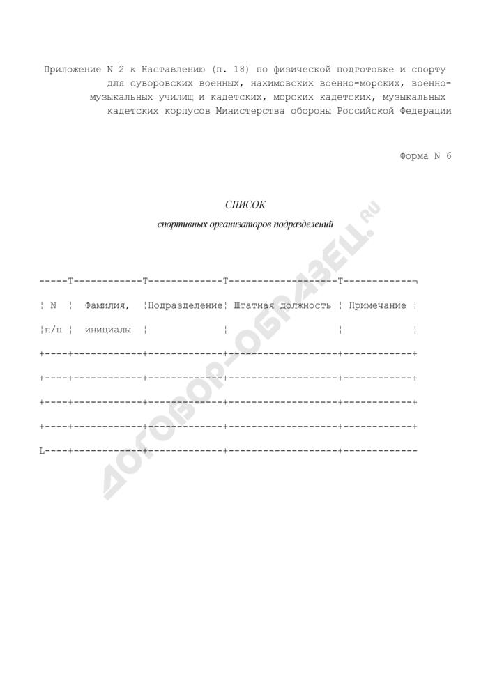 Список спортивных организаторов подразделений. Форма N 6. Страница 1