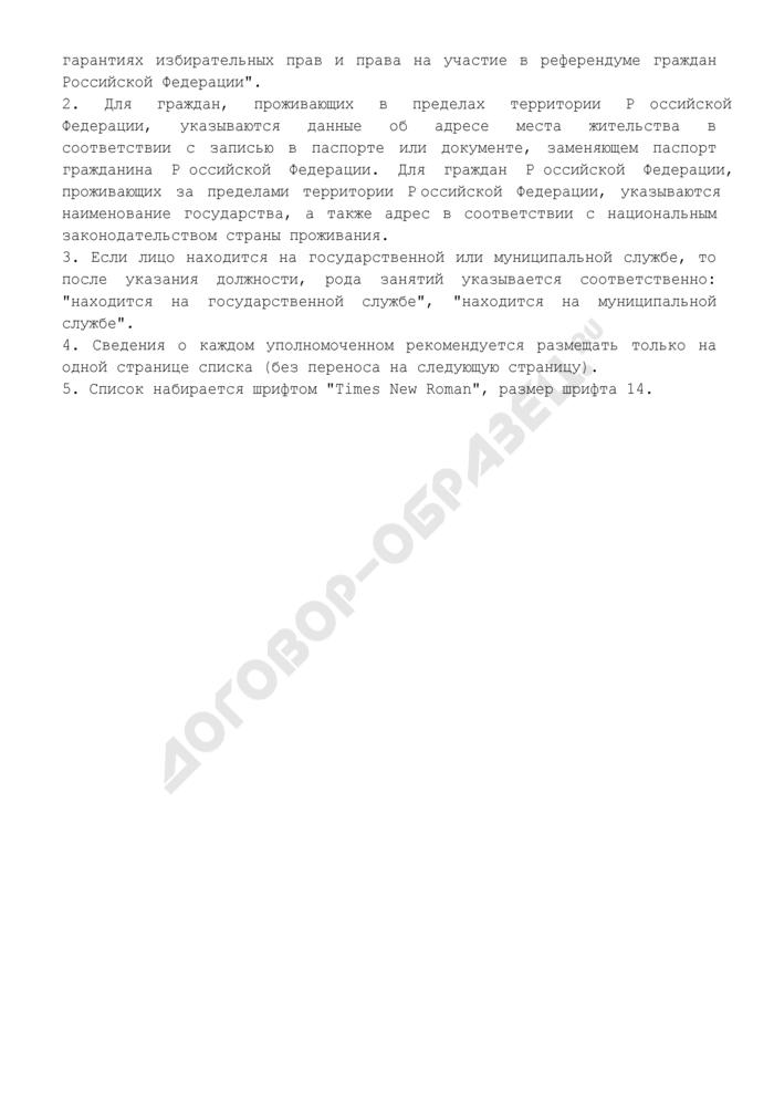 Список уполномоченных представителей политической партии (обязательная форма). Страница 3