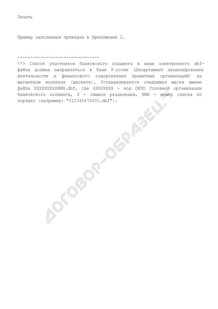 Список участников банковского холдинга. Страница 3