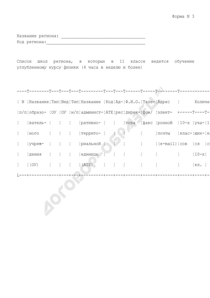 Список школ региона, в которых в 11 классе ведется обучение углубленному курсу физики (4 часа в неделю и более). Форма N 3. Страница 1