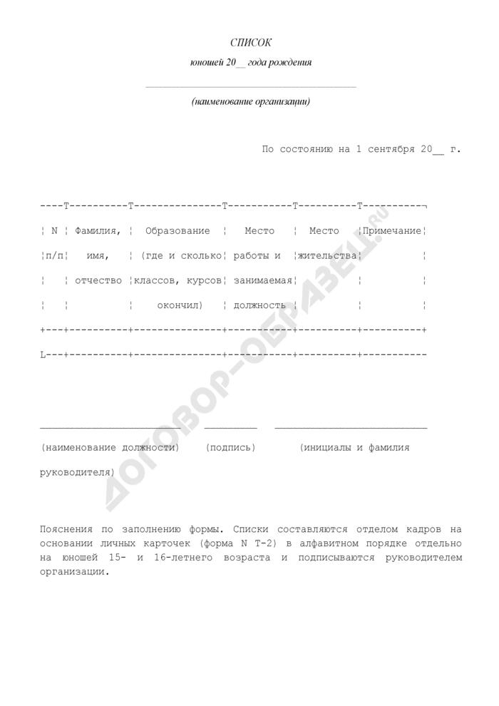 Список юношей 15- и 16-летнего возраста, подлежащих первоначальной постановке на воинский учет. Страница 1