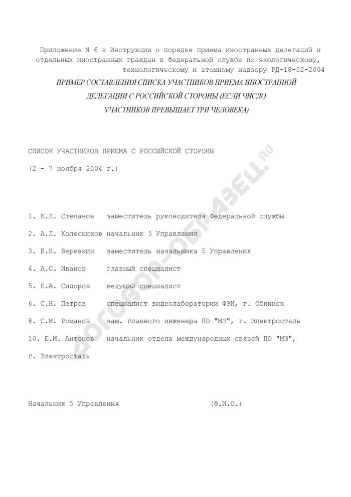 Пример составления списка участников приема иностранной делегации с российской стороны (если число участников превышает три человека) в Федеральной службе по экологическому, технологическому и атомному надзору. Страница 1