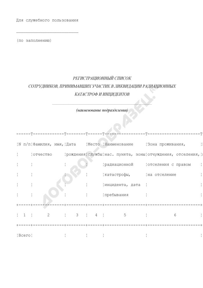 Регистрационный список сотрудников органов внутренних дел Московской области, принимавших участие в ликвидации радиационных катастроф и инцидентов. Страница 1
