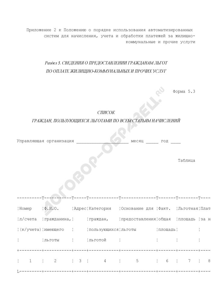 Сведения о предоставлении гражданам льгот по оплате жилищно-коммунальных и прочих услуг. Список граждан, пользующихся льготами по всем статьям начислений. Форма N 5.3. Страница 1