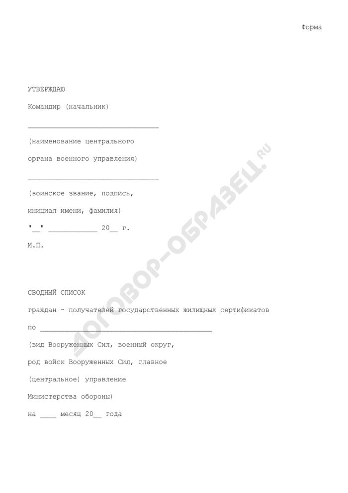 Сводный список граждан - получателей государственных жилищных сертификатов по видам Вооруженных Сил, военным округам, родам войск Вооруженных Сил, главному (центральному) управлению министерства обороны. Страница 1