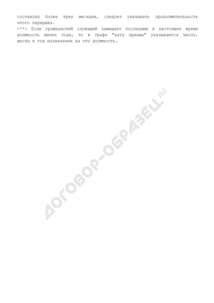 Справка, содержащая сведения о трудовой деятельности гражданского служащего Роснедвижимости, представляемого к присвоению классного чина государственной гражданской службы Российской Федерации. Страница 3