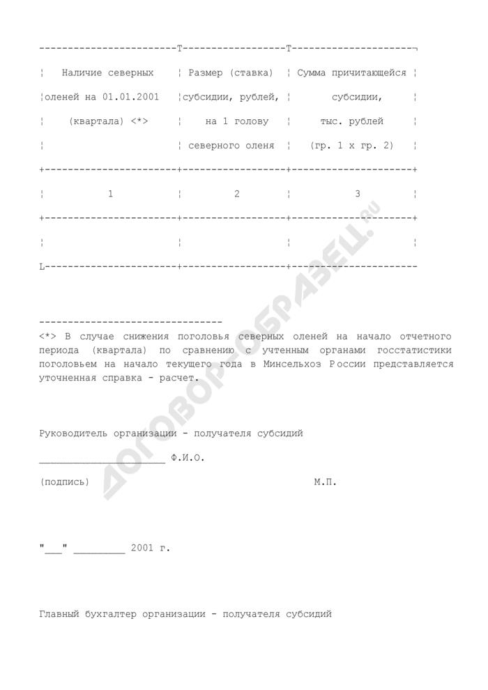 Справка-расчет о причитающихся субсидиях на поддержку северного оленеводства за 2001 год (на содержание северных оленей). Страница 2