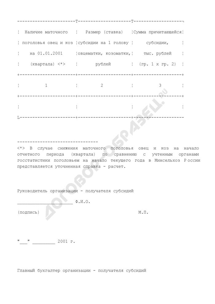 Справка-расчет о причитающихся субсидиях на поддержку отечественного овцеводства за 2001 год (на содержание маточного поголовья овец и коз). Страница 2