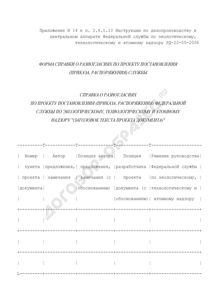 Форма справки о разногласиях по проекту постановления (приказа, распоряжения) Федеральной службы по экологическому, технологическому и атомному надзору. Страница 1