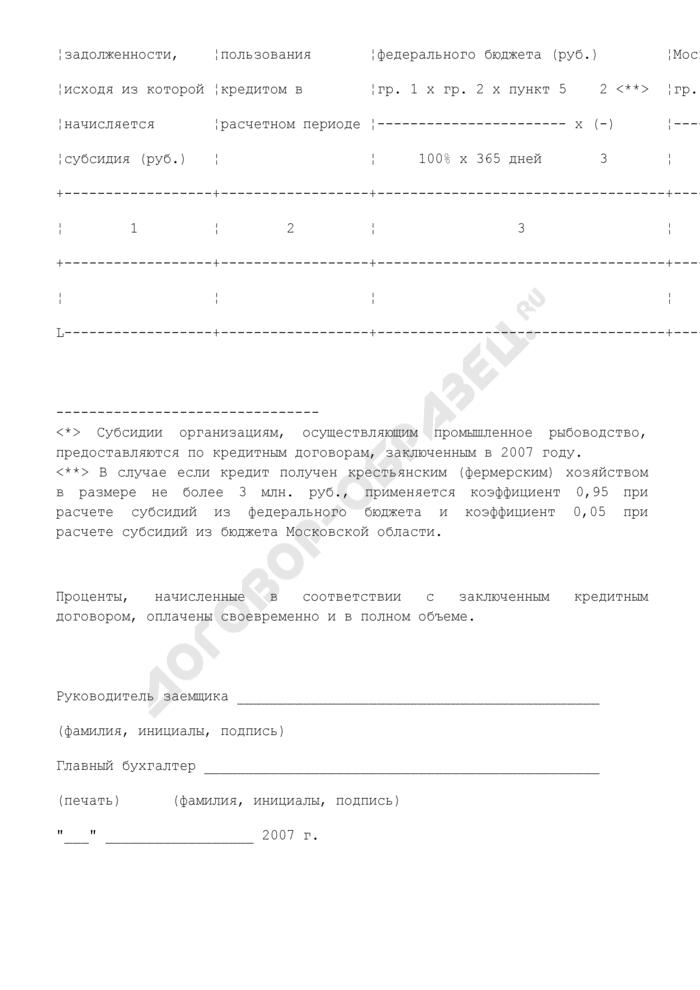 Форма справки-расчета субсидий по уплате процентов по кредиту, полученному на проведение мероприятий в сфере сельского хозяйства по Московской области. Страница 2