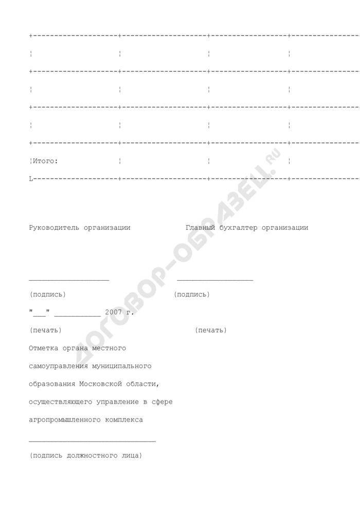 Форма справки-расчета субсидий на известкование, фосфоритование и агрохимическое обследование почв за счет средств бюджета Московской области. Страница 2
