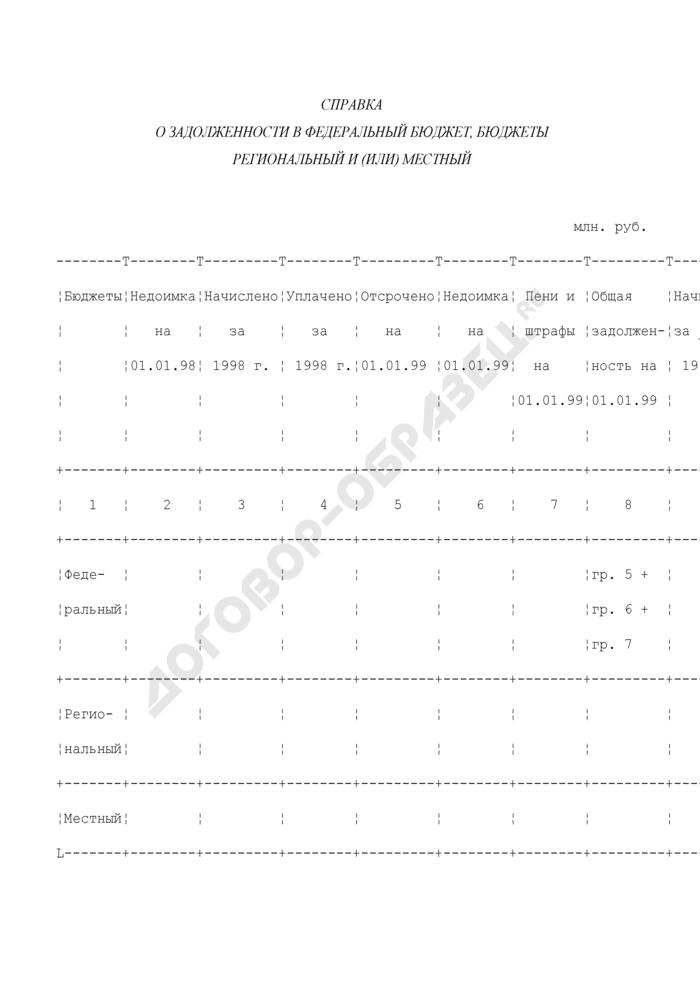 Справка налогового органа по месту регистрации организации, подтверждающая фактическое начисление и поступление платежей по налогам, сборам, пеням и штрафам в 1998 и 1999 годах в федеральный бюджет, а также величину задолженности организации по обязательным платежам в федеральный бюджет на 1-е число месяца подачи заявления для организаций, подавших заявления до 1 января 2000 г., на 1 января 2000 г. для организаций, подавших заявления с 1 января 2000 г. до 1 апреля 2000 г.. Страница 1