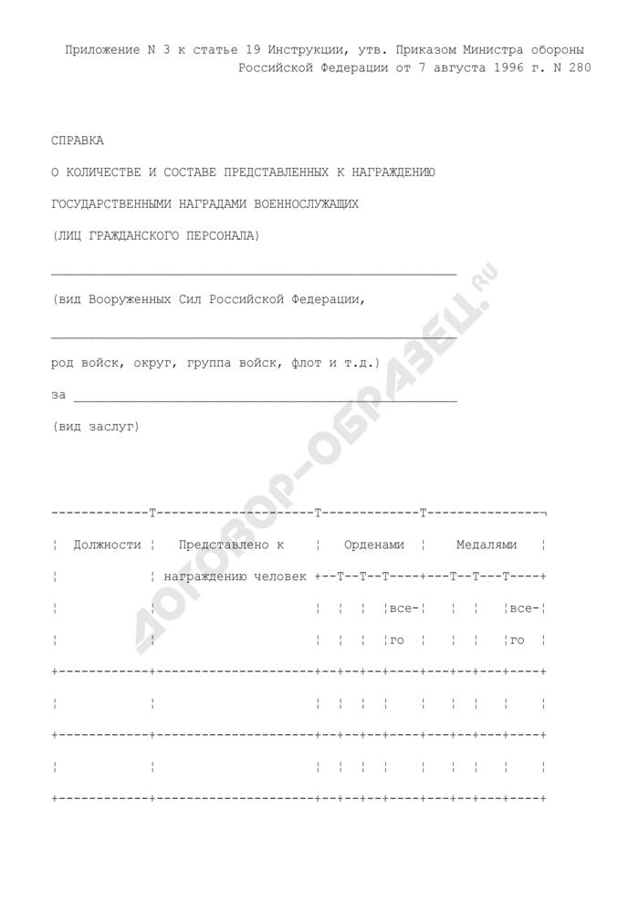 Справка о количестве и составе представленных к награждению государственными наградами военнослужащих (лиц гражданского персонала). Страница 1