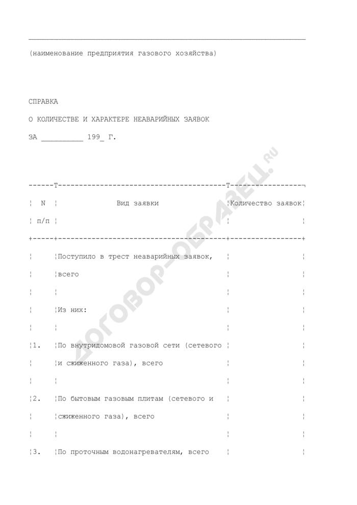 Справка о количестве и характере неаварийных заявок о неисправности газового оборудования. Форма N 31-Э. Страница 1