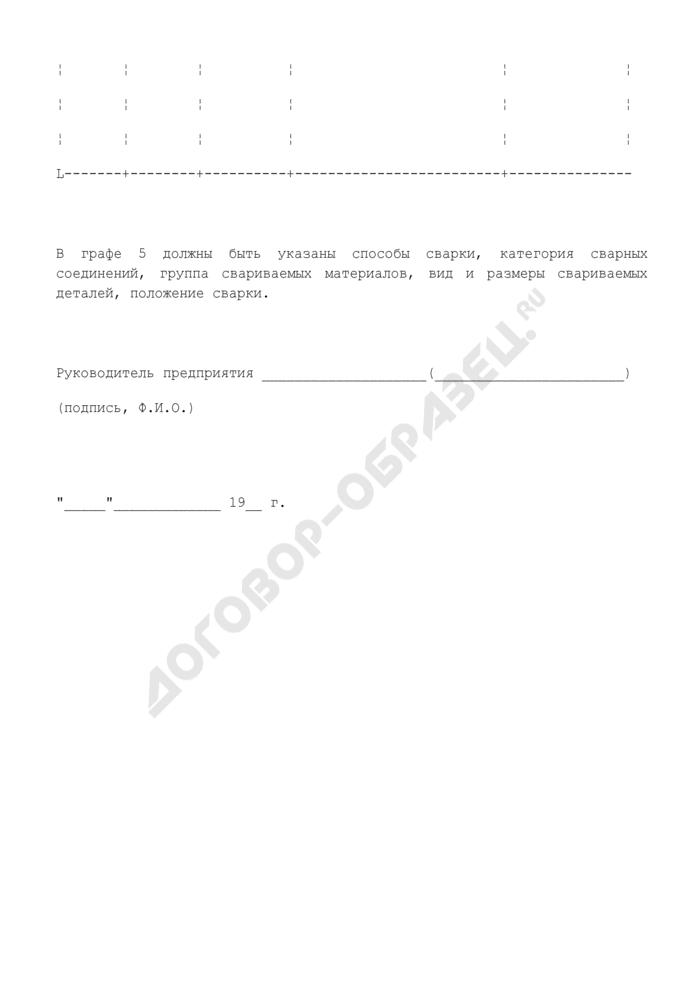Справка о наличии аттестованных сварщиков (приложение к заявлению о выдаче временного разрешения на изготовление оборудования, трубопроводов, приборов и аппаратуры для объекта атомной энергетики). Страница 2