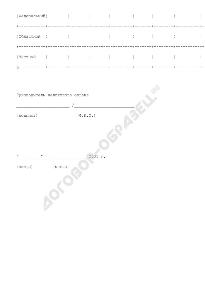Справка о начисленных и уплаченных суммах по налогам и сборам, а также пеням и штрафам, подлежащим зачислению в местный бюджет города Люберцы Московской области. Страница 2