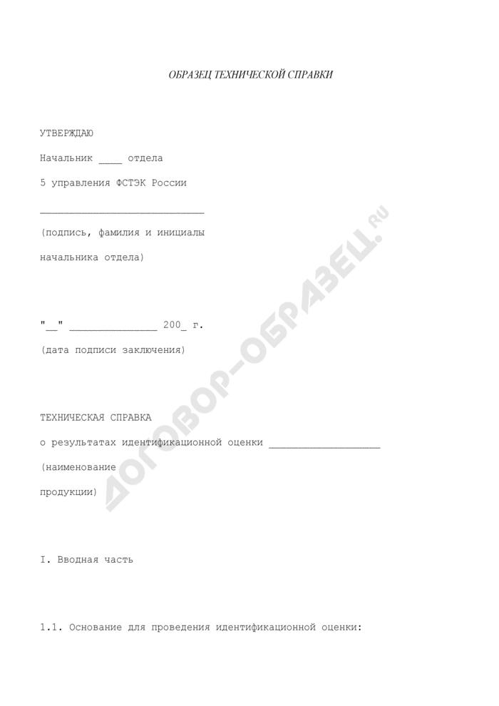 Образец технической справки о результатах идентификационной оценки продукции при осуществлении внешнеэкономической деятельности. Страница 1