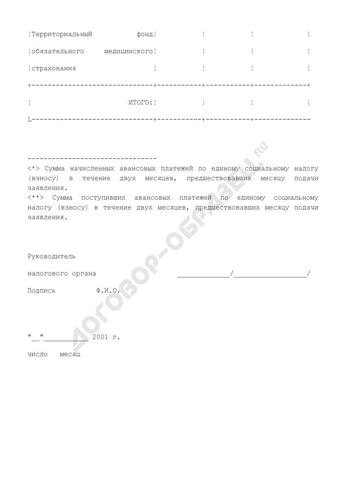 Справка о поступлении авансовых платежей по единому социальному налогу (взносу). Страница 3