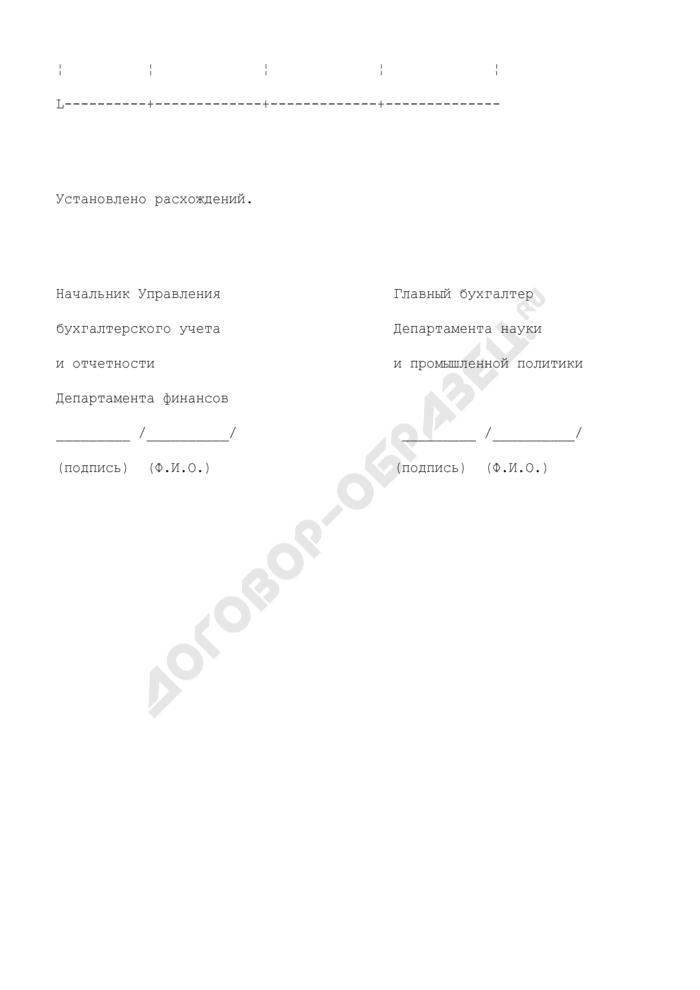 Справка о проведенной выверке между Департаментом финансов города Москвы и Департаментом науки и промышленной политики о поступивших доходах (наличие расхождений). Страница 2