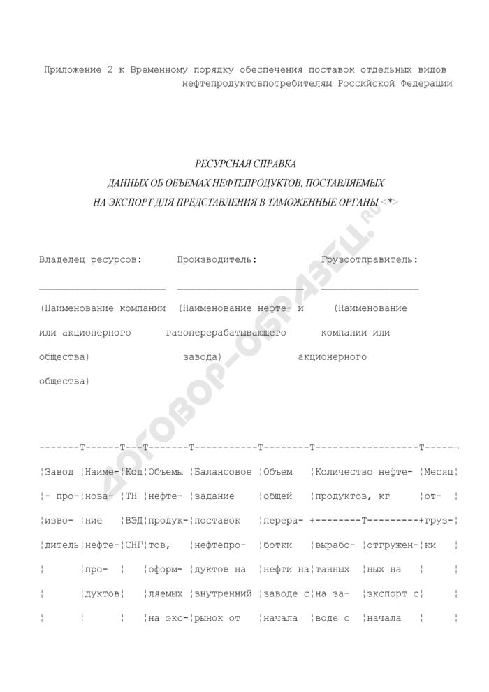 Ресурсная справка данных об объемах нефтепродуктов, поставляемых на экспорт для представления в таможенные органы. Страница 1