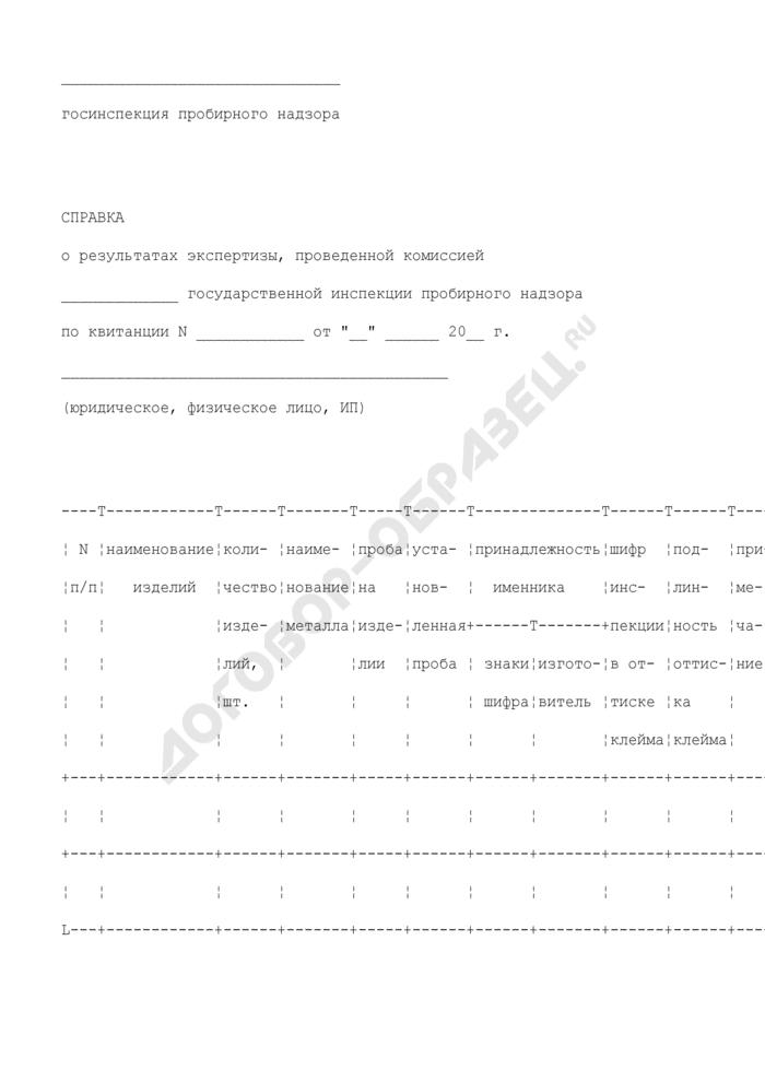 Справка о результатах экспертизы, проведенной комиссией государственной инспекции пробирного надзора по квитанции. Форма N 10б. Страница 1