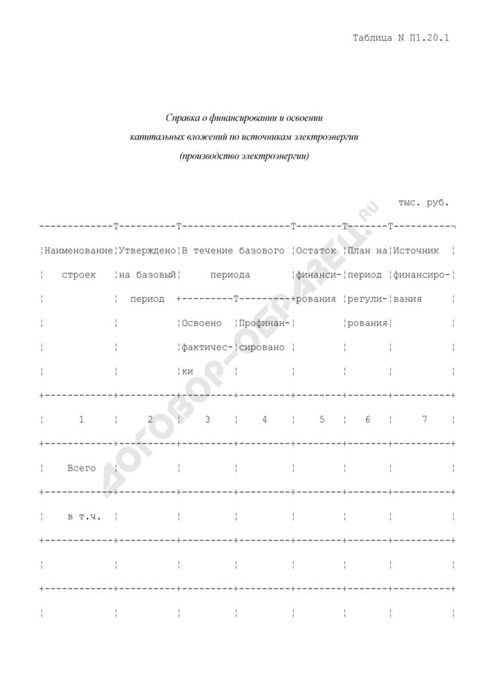 Справка о финансировании и освоении капитальных вложений по источникам электроэнергии (производство электроэнергии) (таблица N П1.20.1). Страница 1