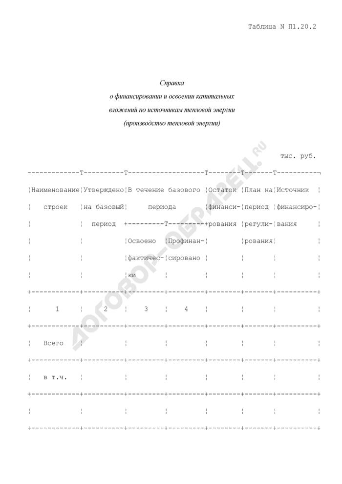Справка о финансировании и освоении капитальных вложений по источникам тепловой энергии (производство тепловой энергии) (таблица N П1.20.2). Страница 1