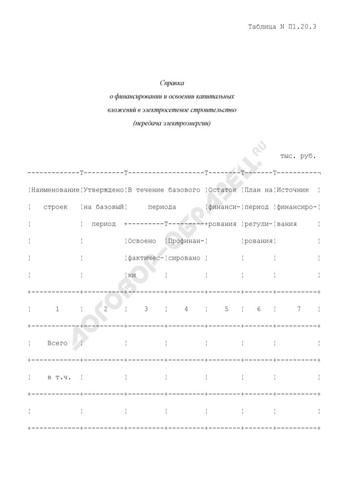 Справка о финансировании и освоении капитальных вложений в электросетевое строительство (передача электроэнергии) (таблица N П1.20.3). Страница 1