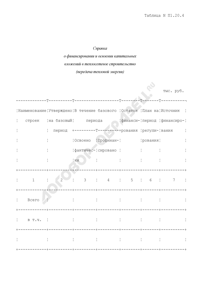 Справка о финансировании и освоении капитальных вложений в теплосетевое строительство (передача тепловой энергии) (таблица N П1.20.4). Страница 1