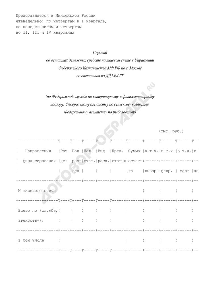 Справка об остатках денежных средств на лицевом счете в Управлении Федерального Казначейства МФ РФ (по Федеральной службе по ветеринарному и фитосанитарному надзору, Федеральному агентству по сельскому хозяйству, Федеральному агентству по рыболовству). Страница 1