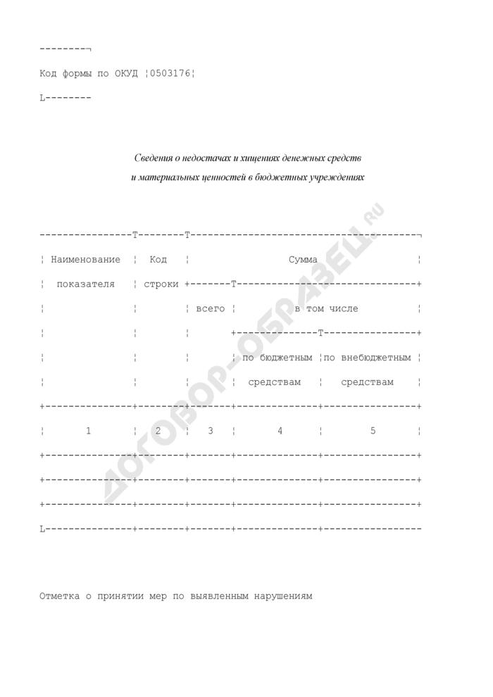 Сведения о недостачах и хищениях денежных средств и материальных ценностей в бюджетных учреждениях (приложение к пояснительной записке к бюджетной отчетности территориального фонда обязательного медицинского страхования). Страница 1