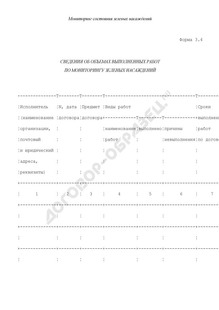 Мониторинг состояния зеленых насаждений. Сведения об объемах выполненных работ по мониторингу зеленых насаждений. Форма N 3.4. Страница 1