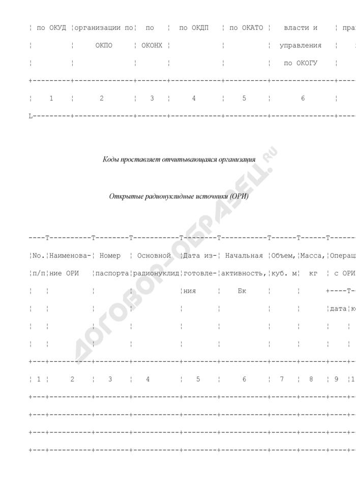 Сведения о передаче, получении, направлении на захоронение открытых радионуклидных источников. Форма N ОРИ (оперативная). Страница 3