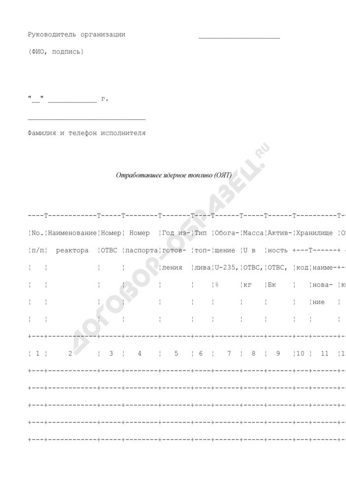 Сведения о передаче, получении, направлении на хранение или переработку отработавшего ядерного топлива. Форма N ОЯТ (оперативная). Страница 3