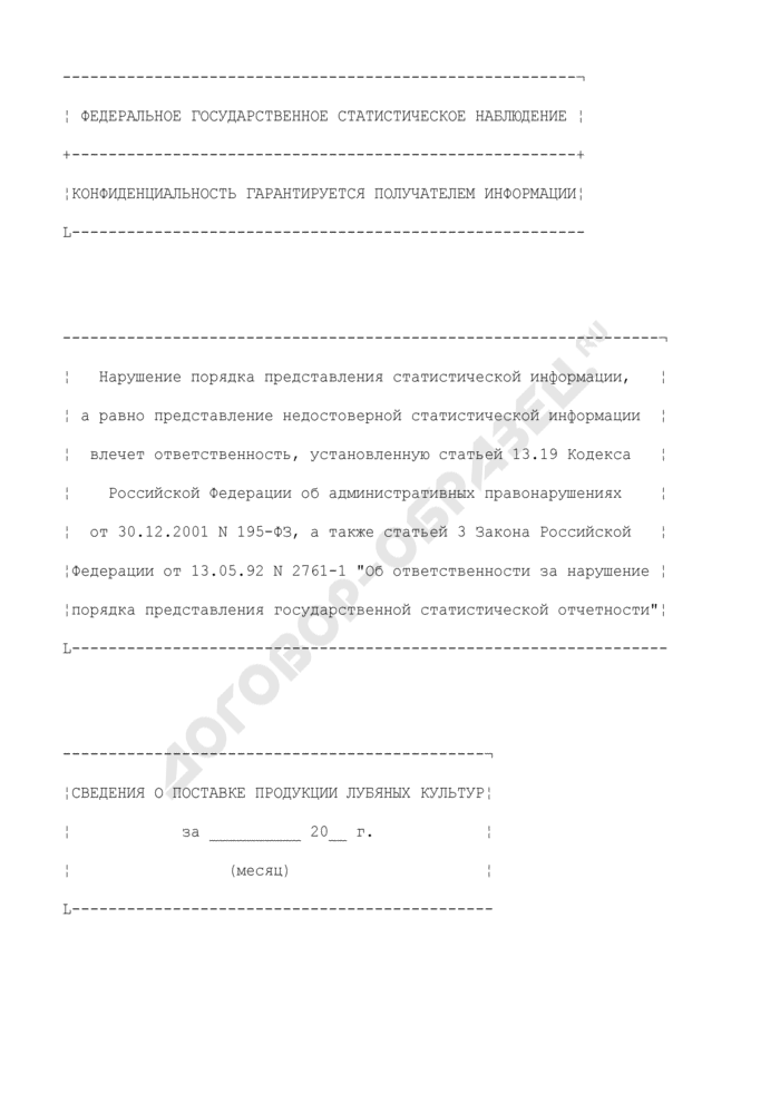 Сведения о поставке продукции лубяных культур. Форма N 1-ПС (лубяные волокна). Страница 1