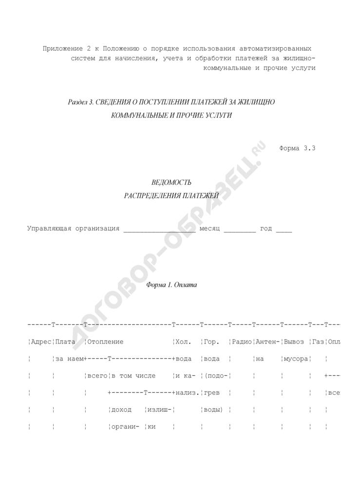 Сведения о поступлении платежей за жилищно-коммунальные и прочие услуги. Ведомость распределения платежей. Форма N 3.3. Страница 1