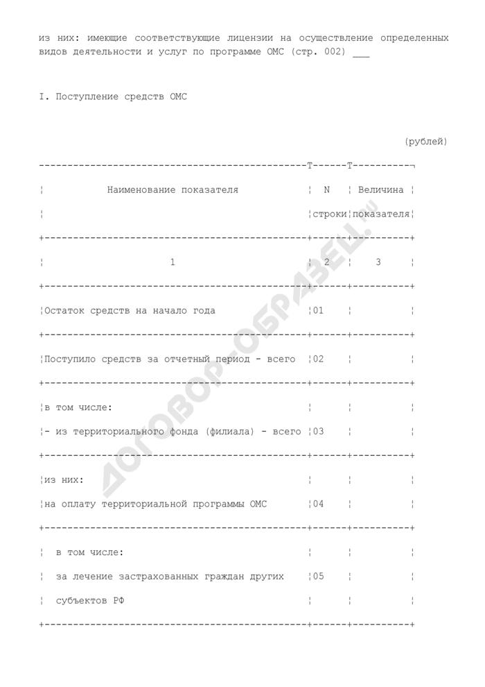 Сведения о поступлении и расходовании денежных средств ОМС медицинскими учреждениями. Форма N 14-Ф (сводная). Страница 2