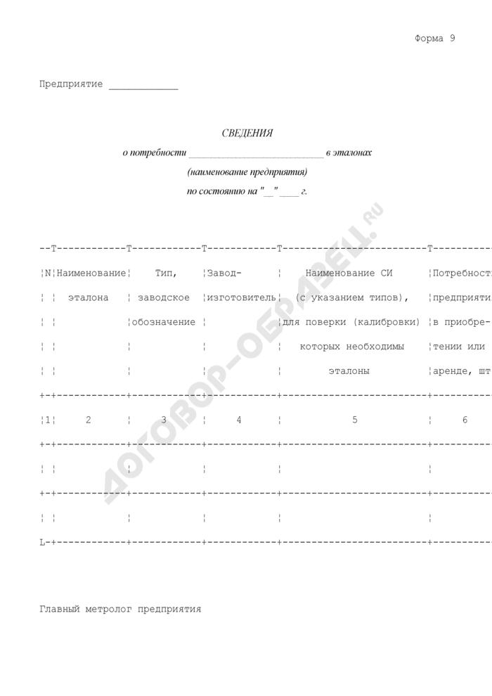 Сведения о потребности предприятия в эталонах. Форма N 9. Страница 1