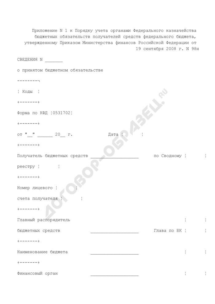 Сведения о принятом бюджетном обязательстве от получателя средств федерального бюджета в орган Федерального казначейства. Страница 1