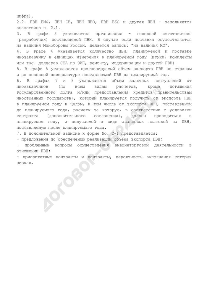 Сведения о прогнозируемых объемах экспорта продукции военного назначения. Форма N С-1. Страница 3