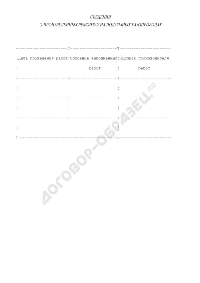 Сведения о произведенных ремонтах на подземных газопроводах (приложение к форме N 10-Э). Страница 1