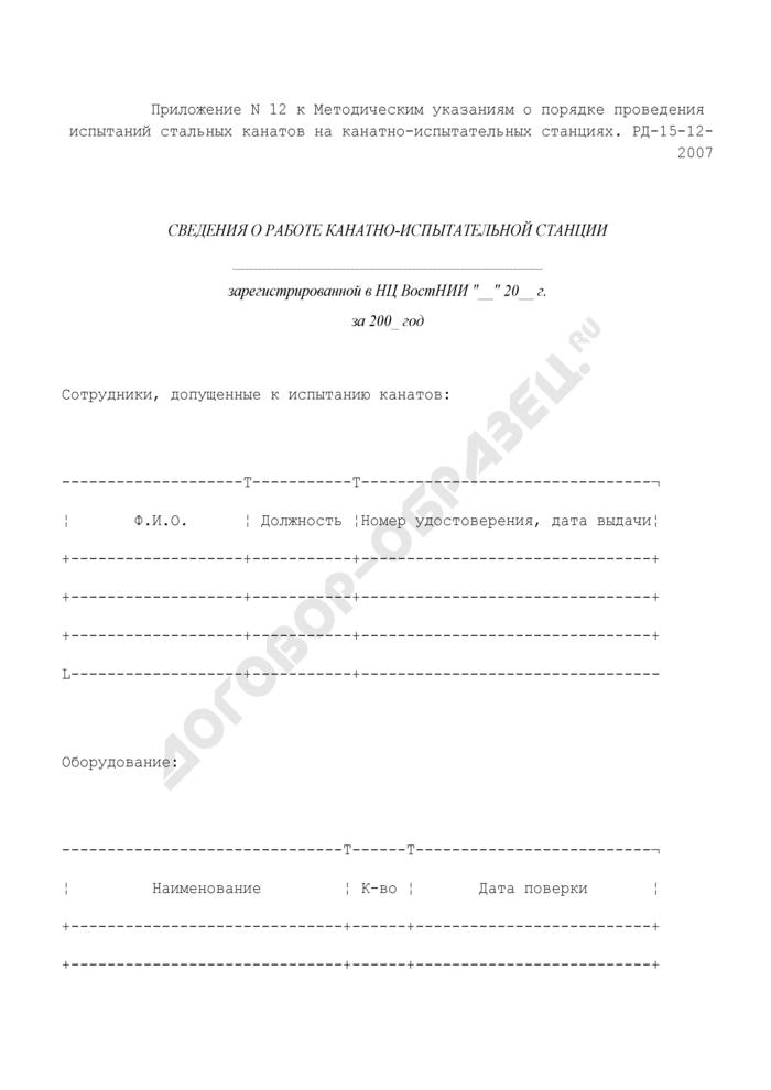 Сведения о работе канатно-испытательной станции. Страница 1