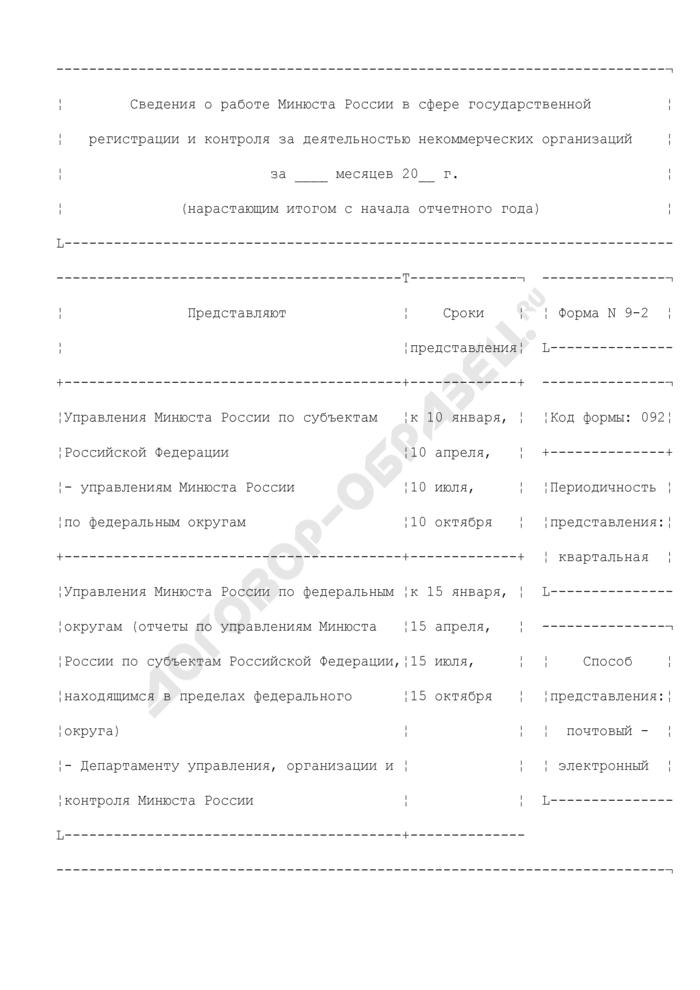Сведения о работе Минюста России в сфере государственной регистрации и контроля за деятельностью некоммерческих организаций. Форма N 9-2. Страница 1