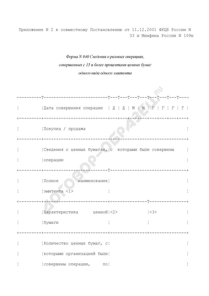 Сведения о разовых операциях, совершенных с 15 и более процентами ценных бумаг одного вида одного эмитента. Форма N 040 (отчетность профессиональных участников рынка ценных бумаг). Страница 1