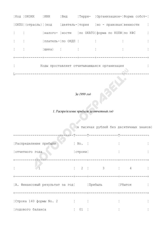 Сведения о распределении прибыли. N 1-ФГД (годовая). Страница 2