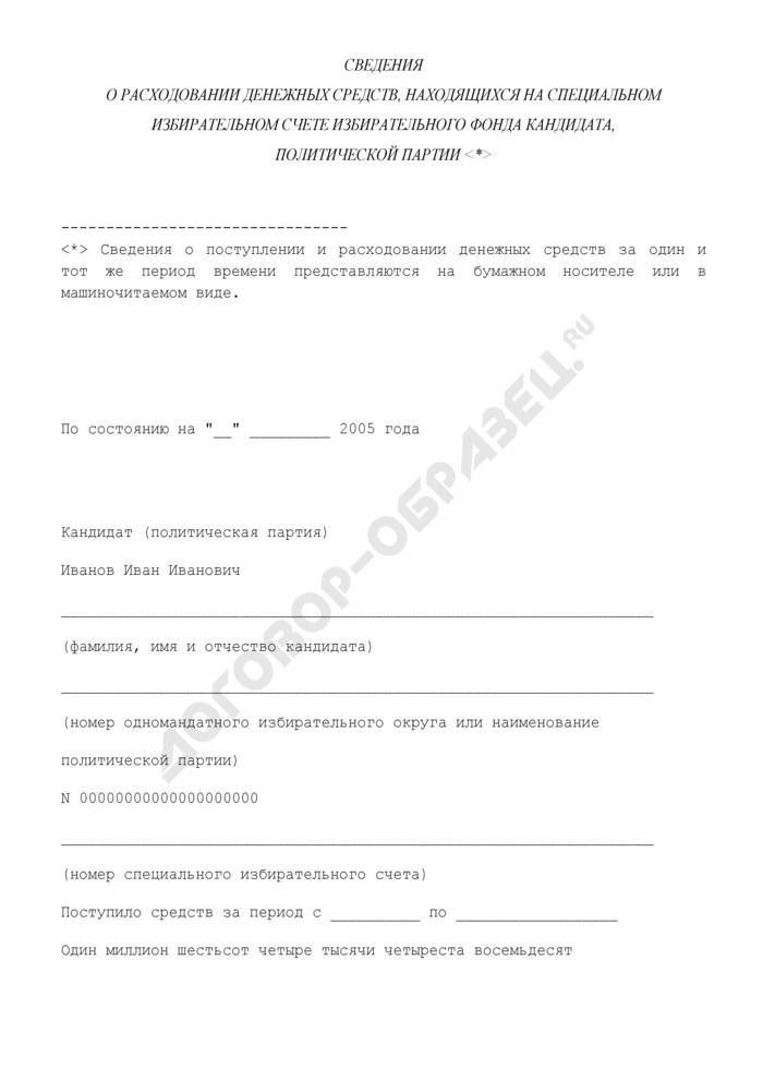 Сведения о расходовании денежных средств, находящихся на специальном избирательном счете избирательного фонда кандидата, политической партии. Страница 1